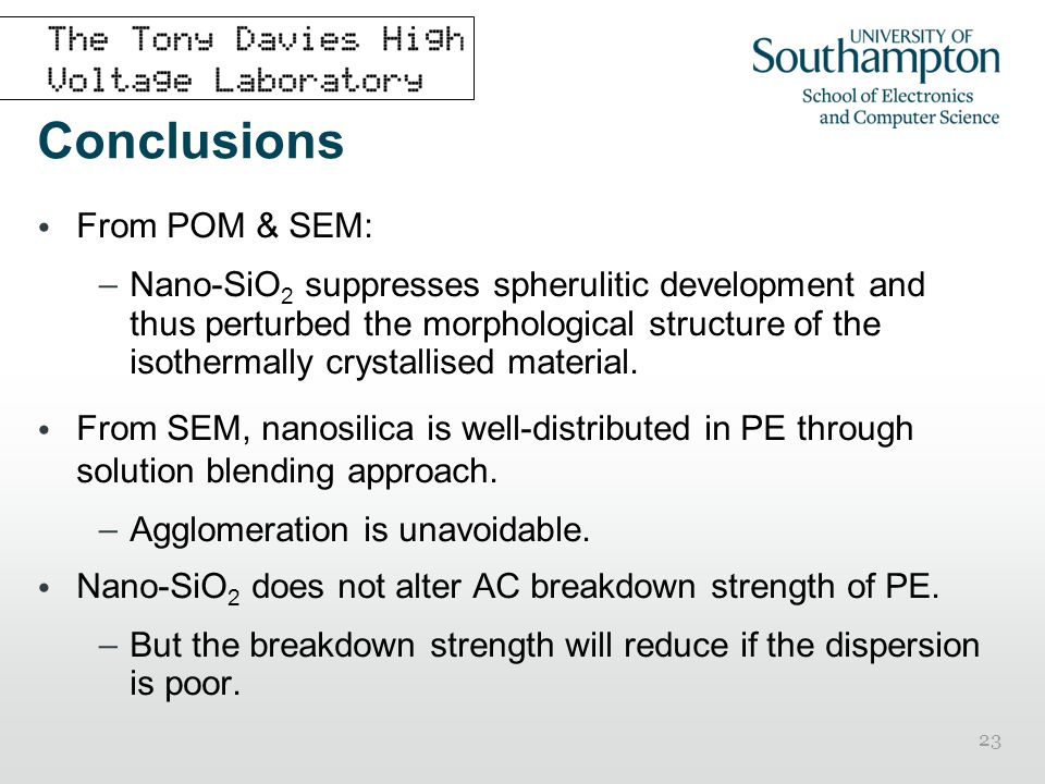 Conclusions From POM & SEM: