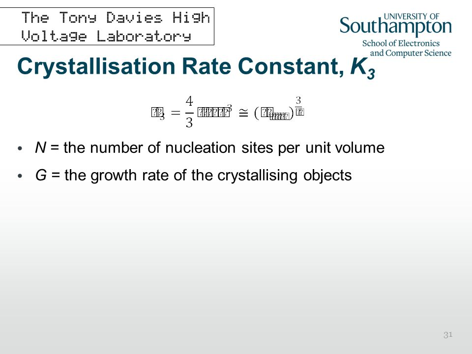 Crystallisation Rate Constant, K3