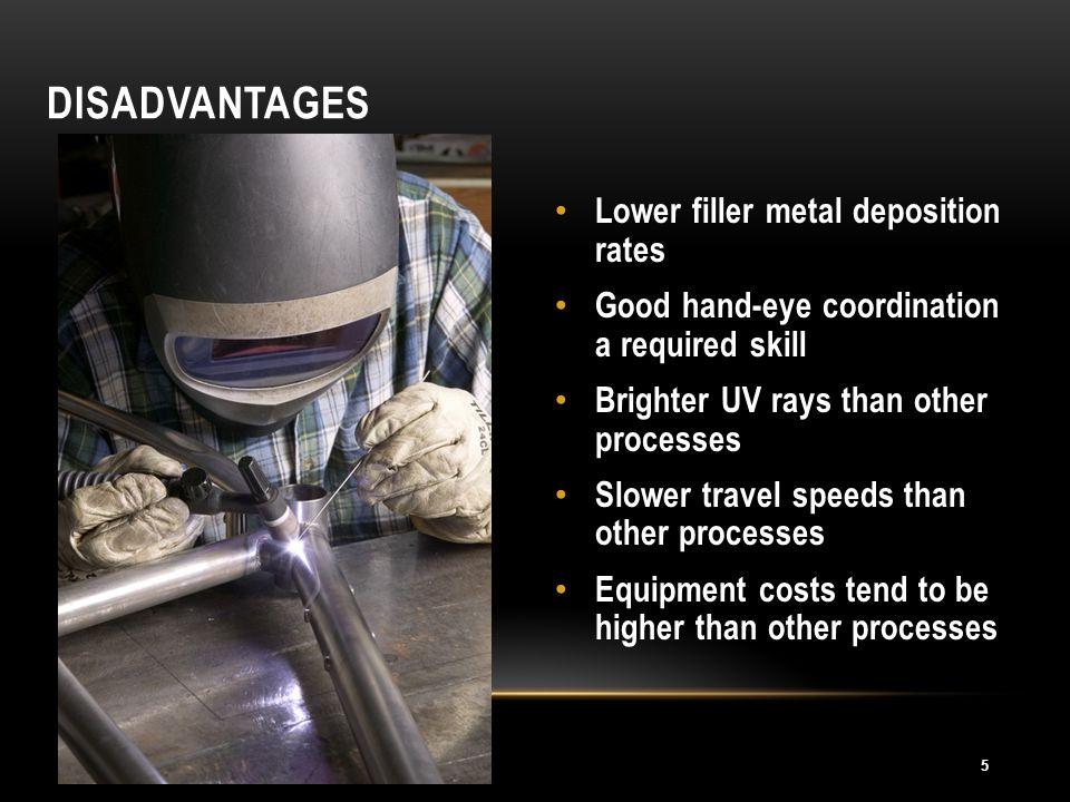 Disadvantages Lower filler metal deposition rates