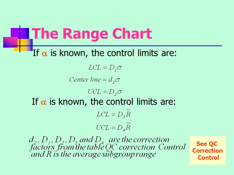 The Range Chart If a is known, the control limits are: