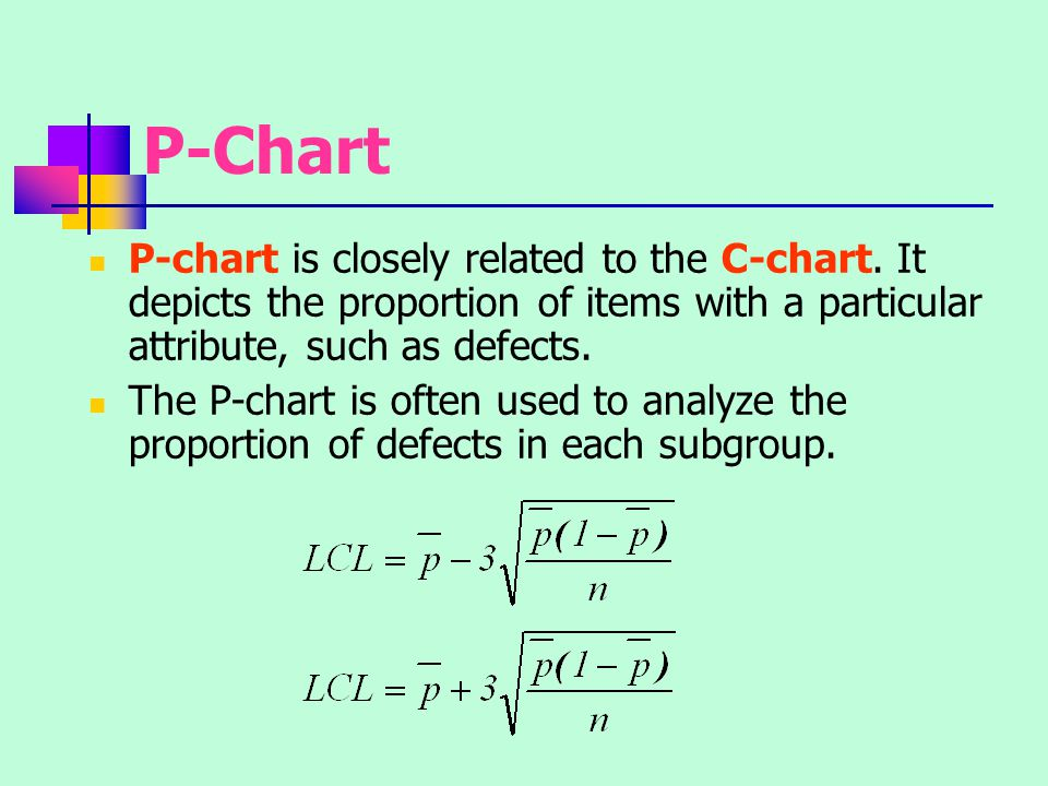 P-Chart P-chart is closely related to the C-chart. It depicts the proportion of items with a particular attribute, such as defects.