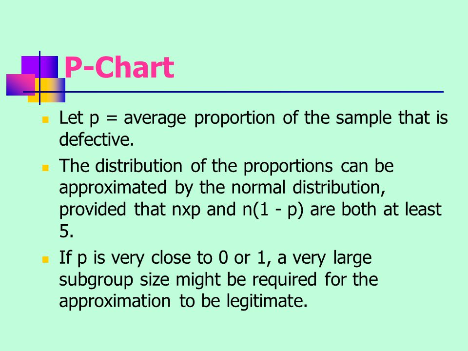 P-Chart Let p = average proportion of the sample that is defective.