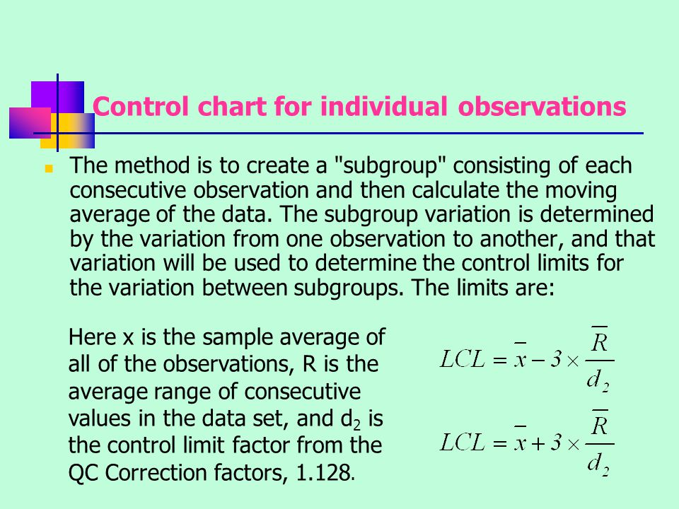 Control chart for individual observations