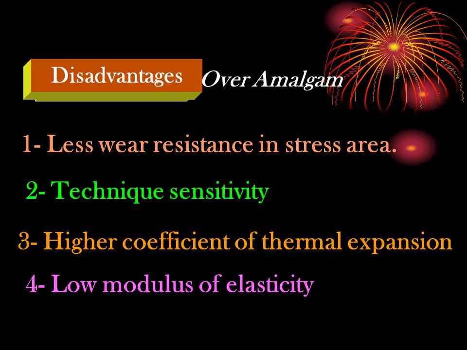 1- Less wear resistance in stress area.