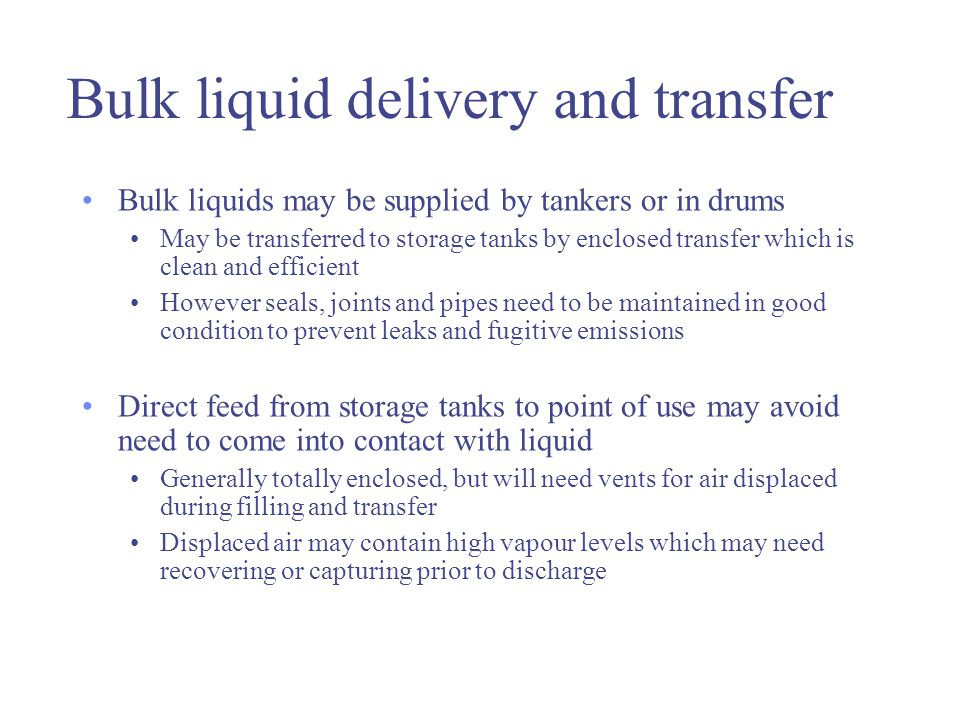 Bulk liquid delivery and transfer