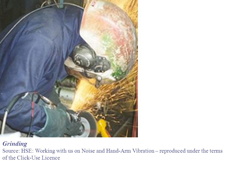 Grinding Source: HSE: Working with us on Noise and Hand-Arm Vibration – reproduced under the terms.
