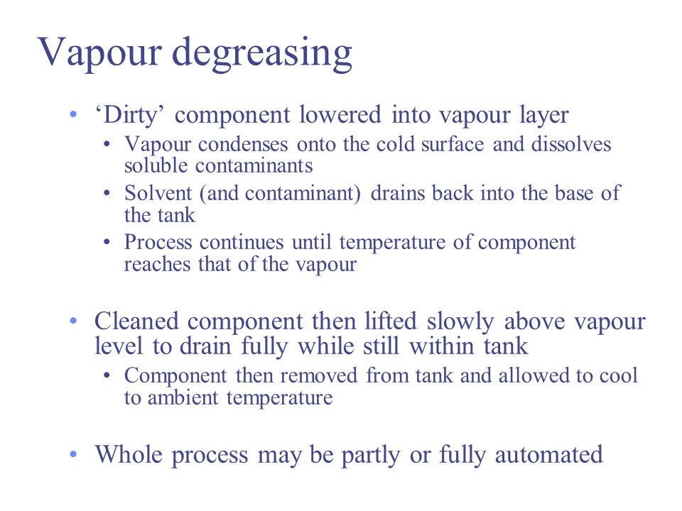 Vapour degreasing 'Dirty' component lowered into vapour layer