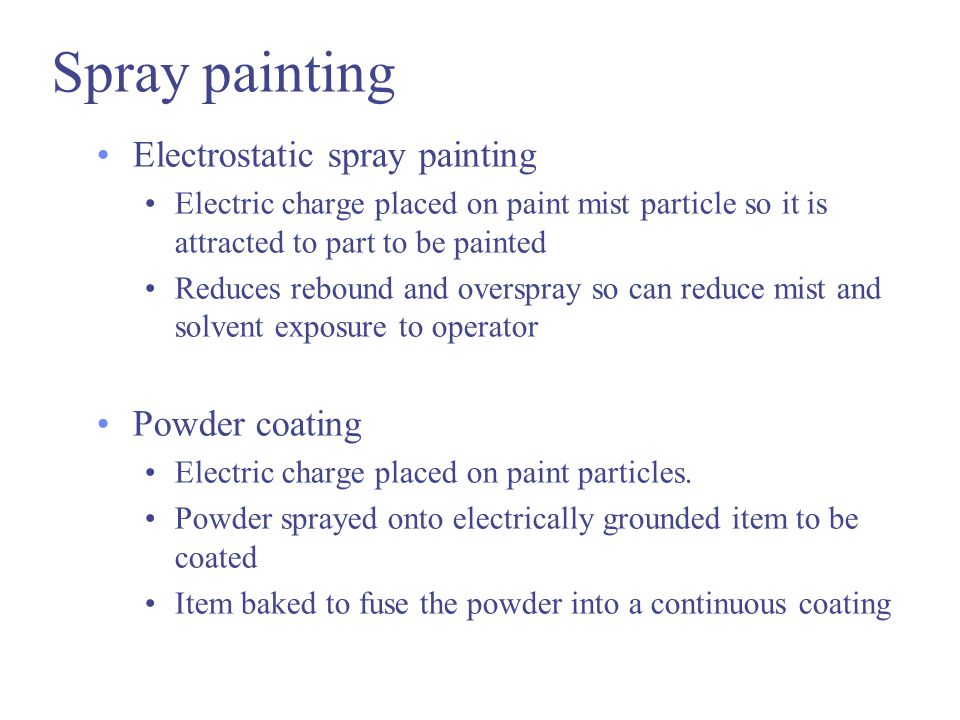 Spray painting Electrostatic spray painting Powder coating