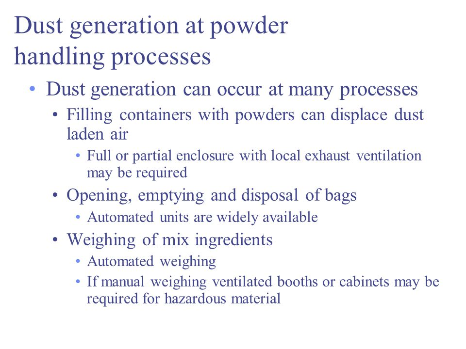 Dust generation at powder handling processes