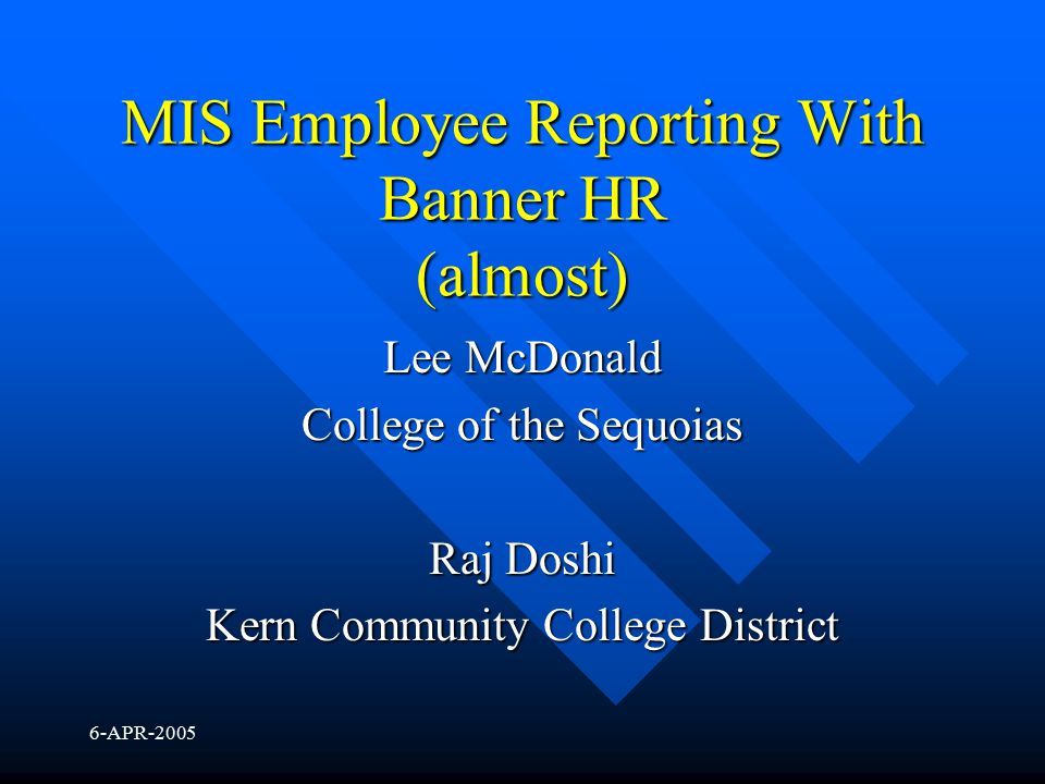 MIS Employee Reporting With Banner HR (almost)