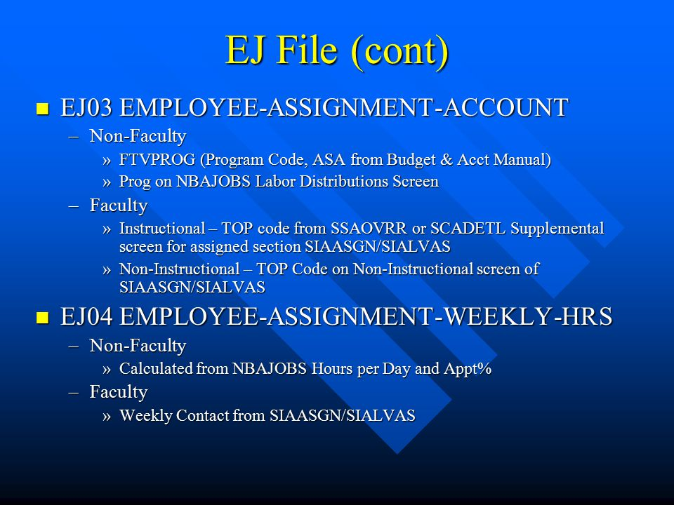 EJ File (cont) EJ03 EMPLOYEE-ASSIGNMENT-ACCOUNT