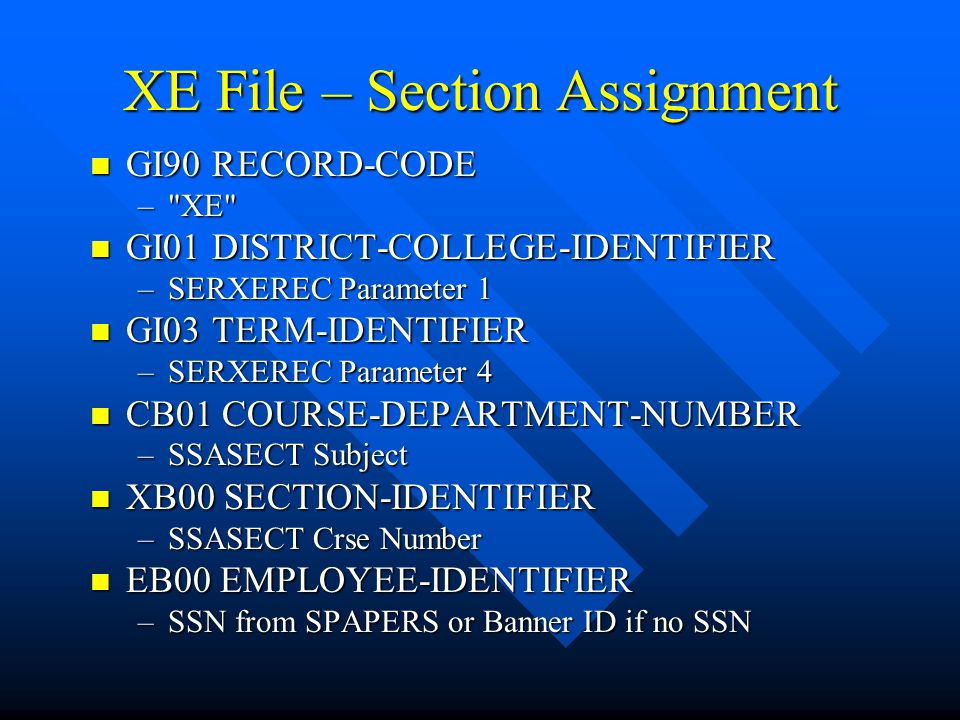 XE File – Section Assignment