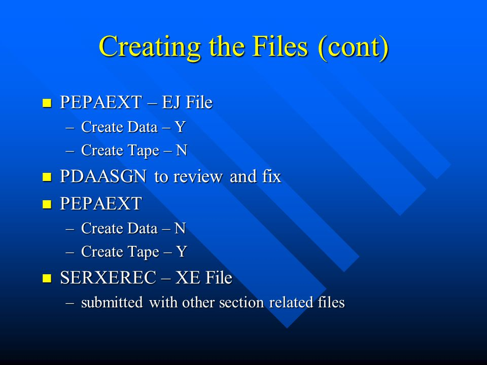 Creating the Files (cont)