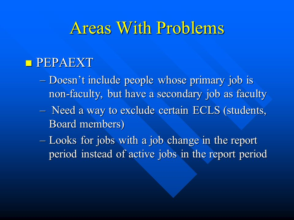 Areas With Problems PEPAEXT