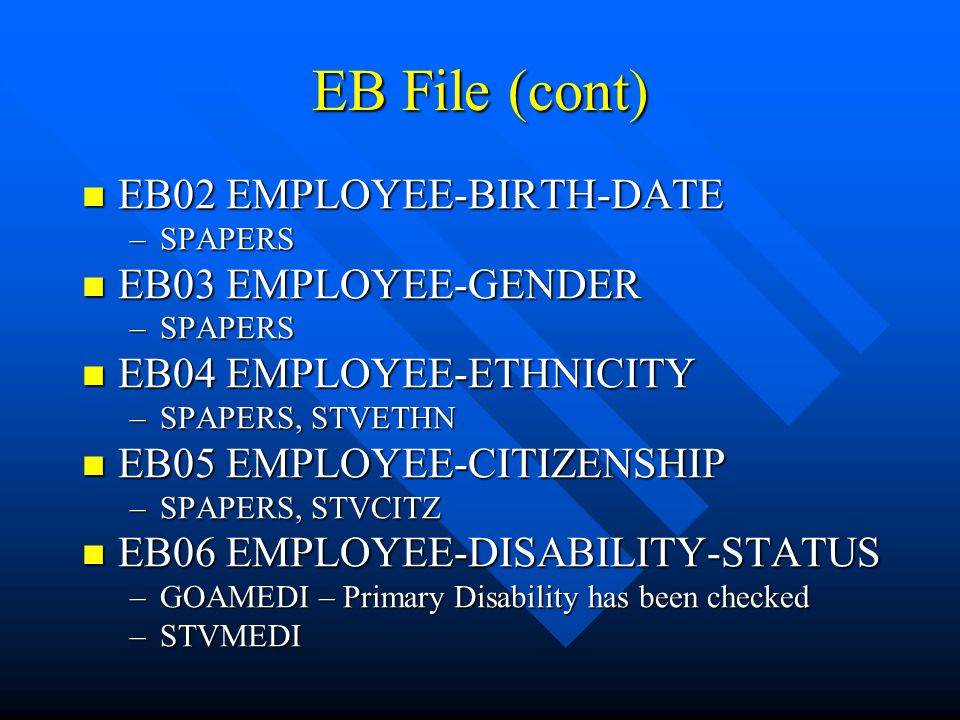 EB File (cont) EB02 EMPLOYEE-BIRTH-DATE EB03 EMPLOYEE-GENDER