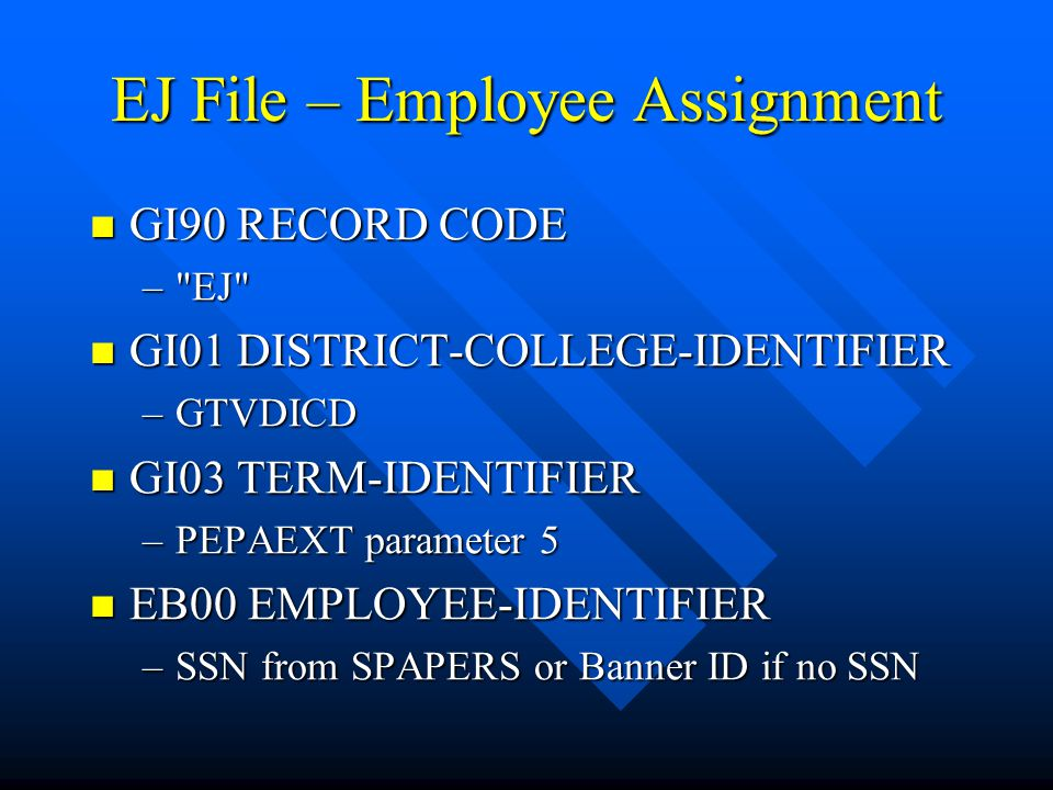 EJ File – Employee Assignment