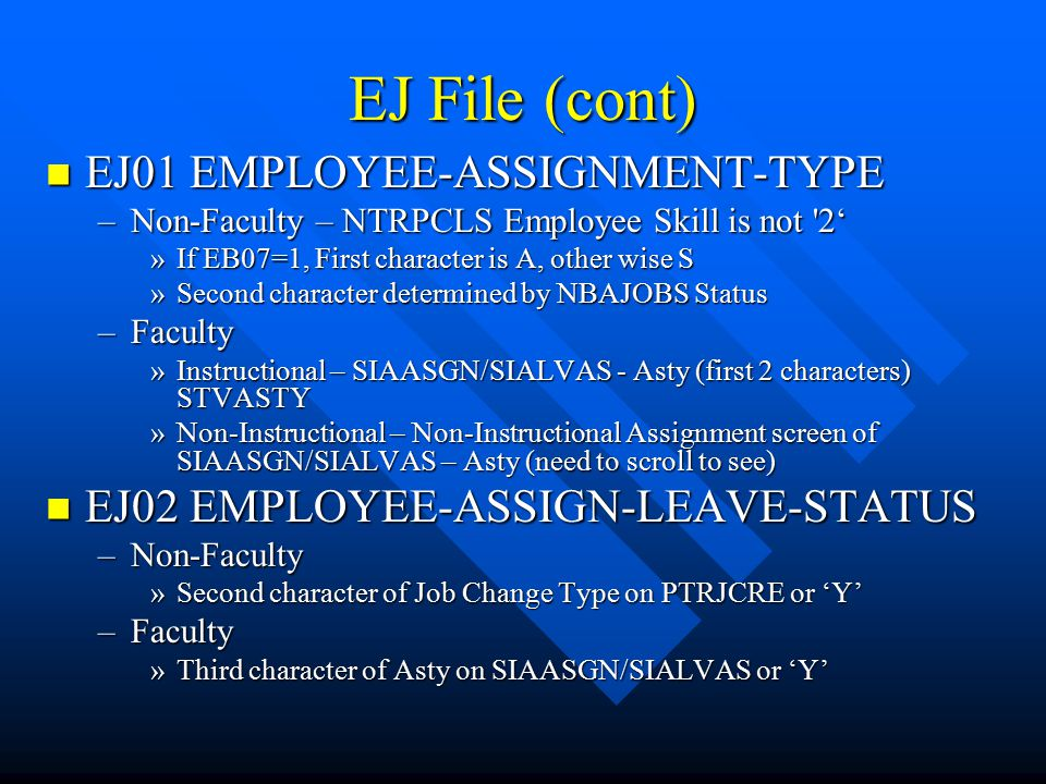 EJ File (cont) EJ01 EMPLOYEE-ASSIGNMENT-TYPE