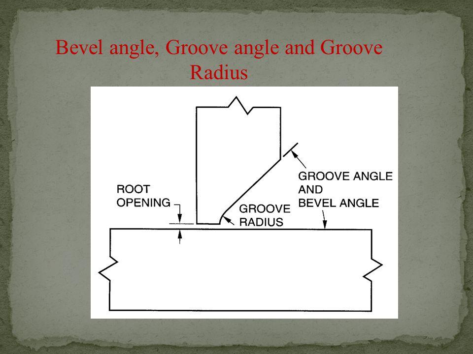 Bevel angle, Groove angle and Groove Radius