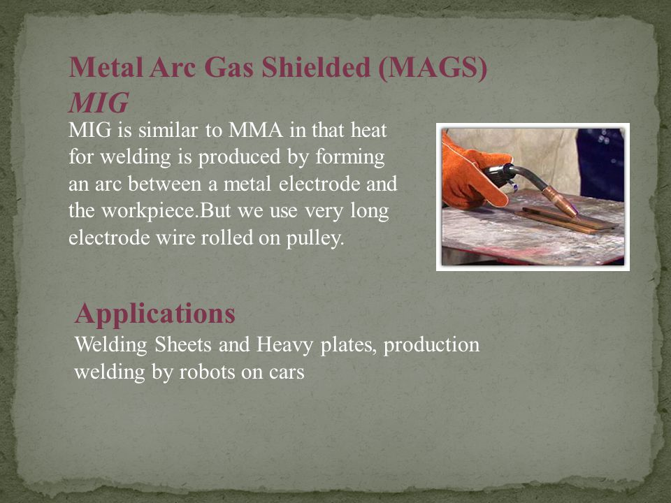 Metal Arc Gas Shielded (MAGS) MIG