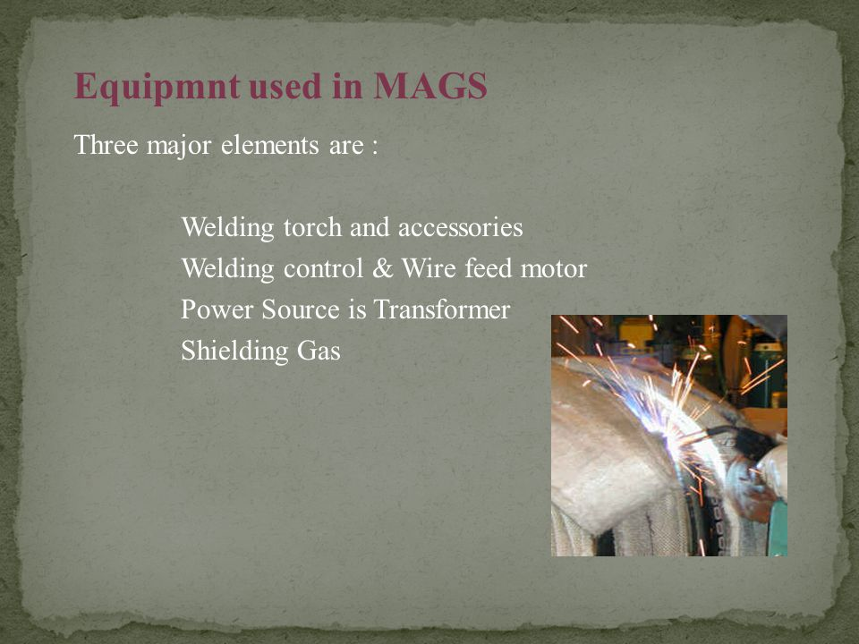 Equipmnt used in MAGS Three major elements are :