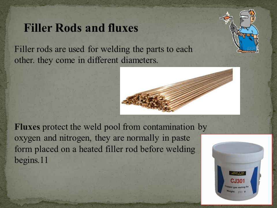 Filler Rods and fluxes Filler rods are used for welding the parts to each other. they come in different diameters.
