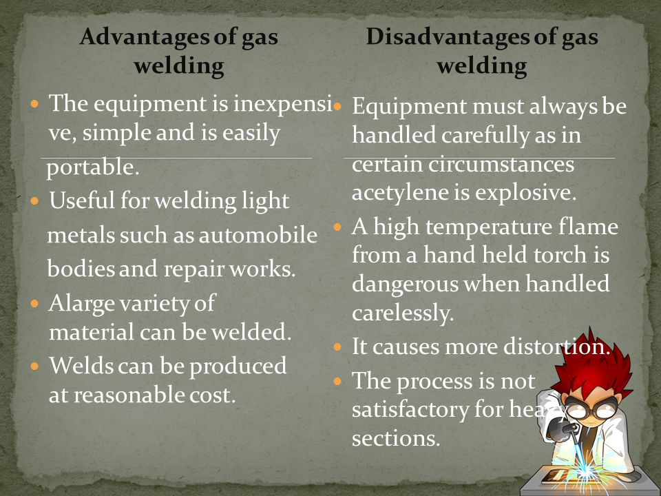 Advantages of gas welding Disadvantages of gas welding