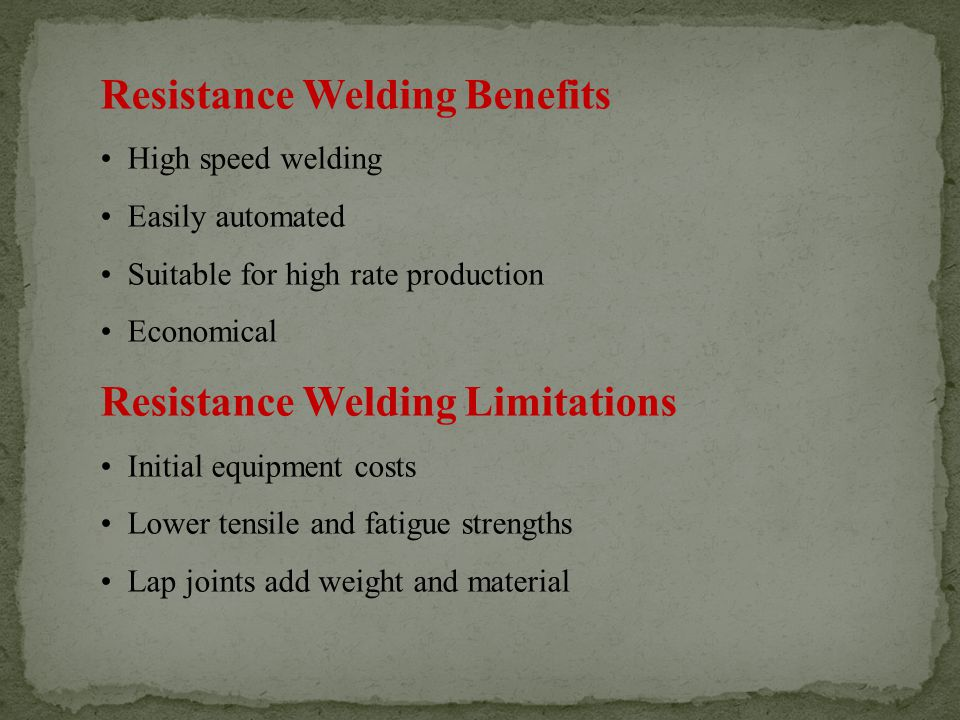 Resistance Welding Benefits