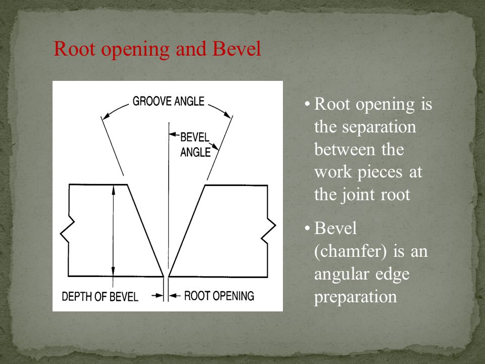 Root opening and Bevel Root opening is the separation between the work pieces at the joint root.
