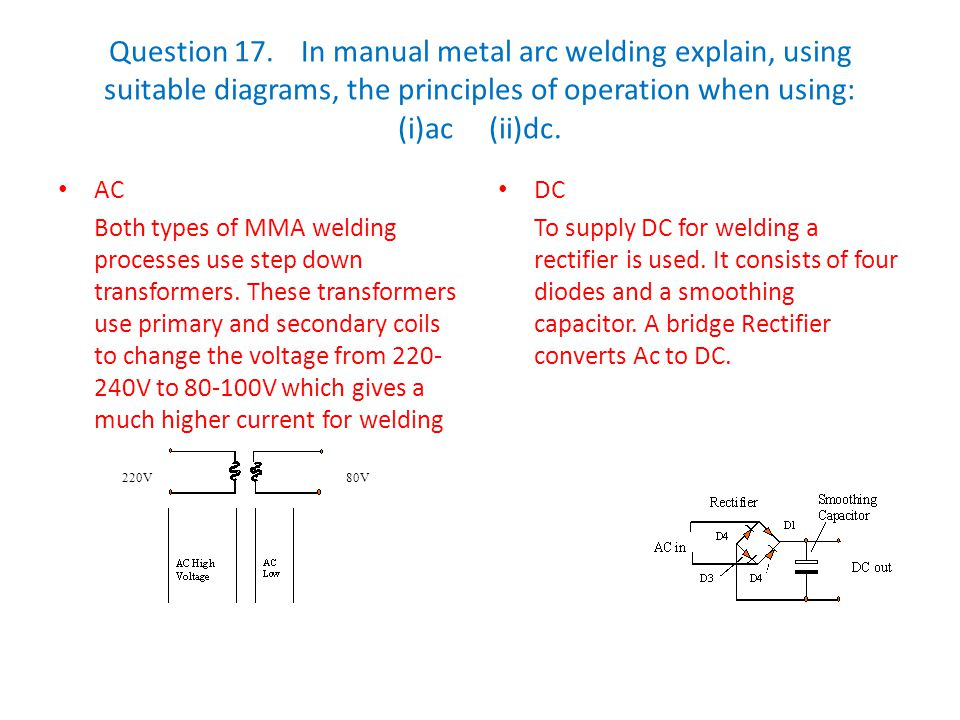 Question 17. In manual metal arc welding explain, using suitable diagrams, the principles of operation when using: (i)ac (ii)dc.