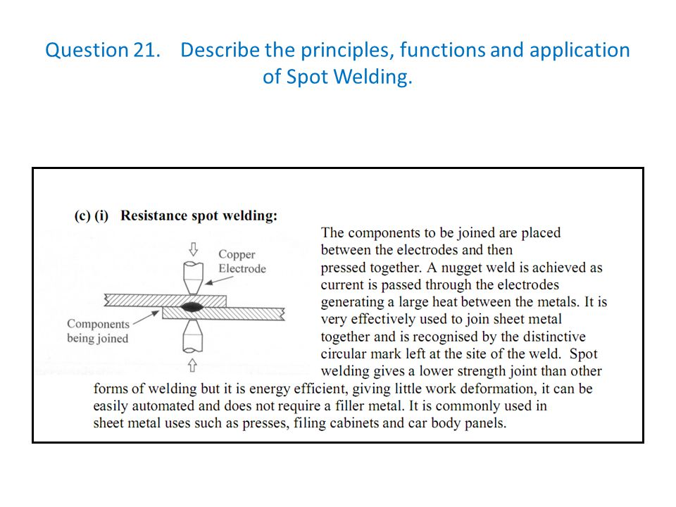 Question 21. Describe the principles, functions and application of Spot Welding.