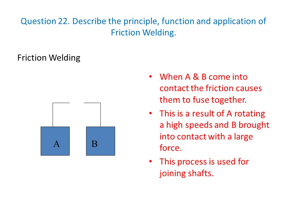 Question 22. Describe the principle, function and application of Friction Welding.