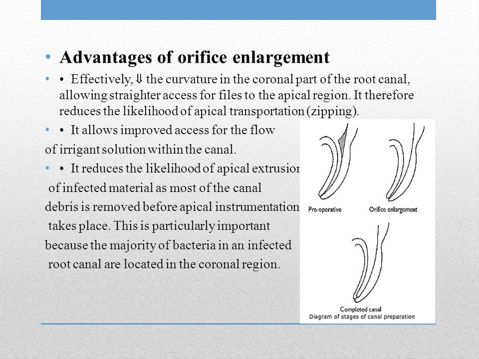 Advantages of orifice enlargement