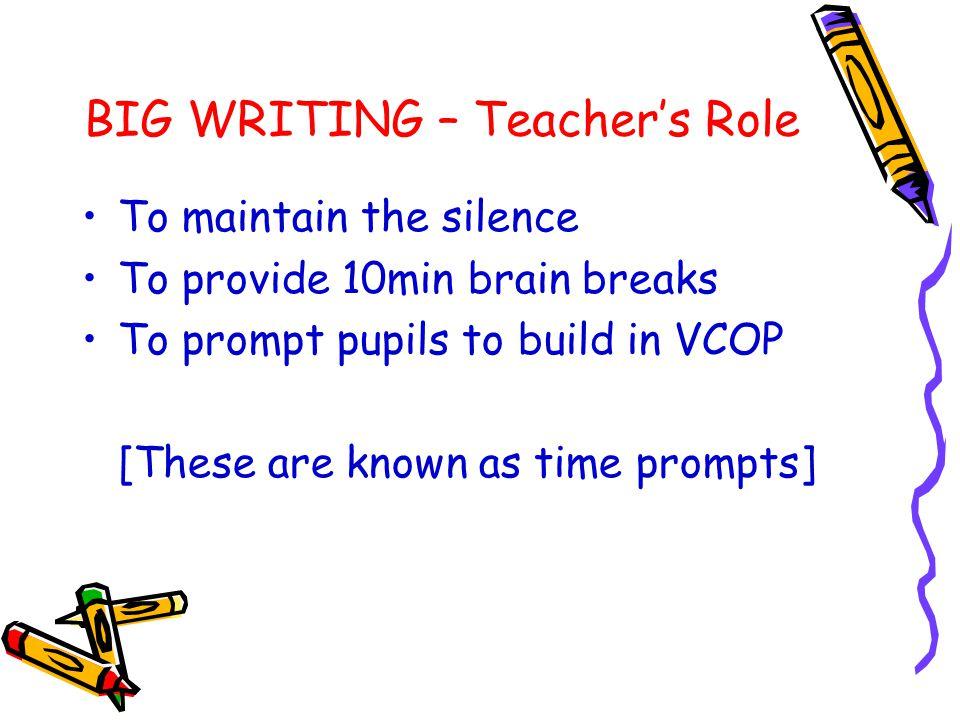 BIG WRITING – Teacher's Role