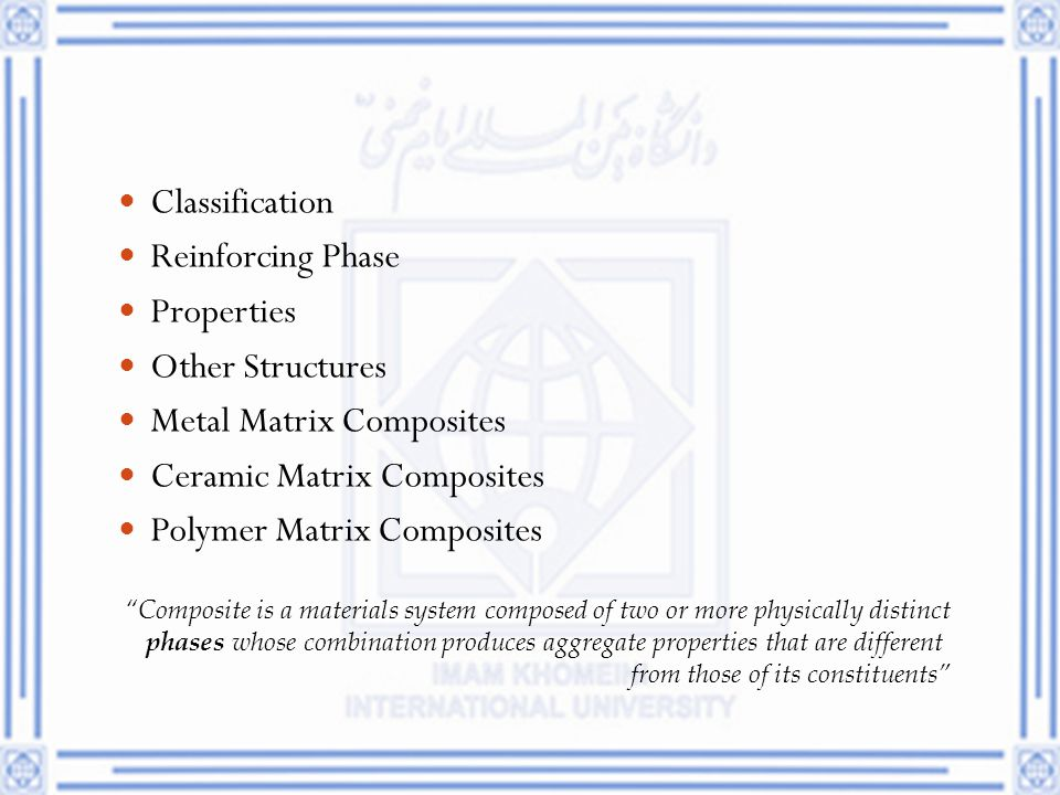 Metal Matrix Composites Ceramic Matrix Composites