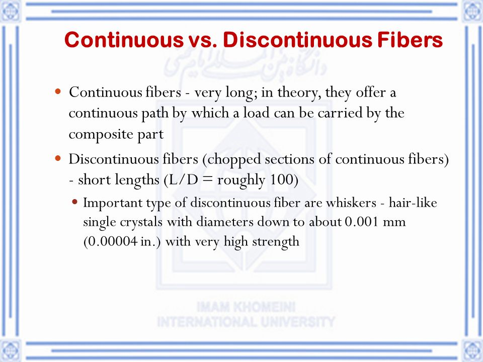Continuous vs. Discontinuous Fibers
