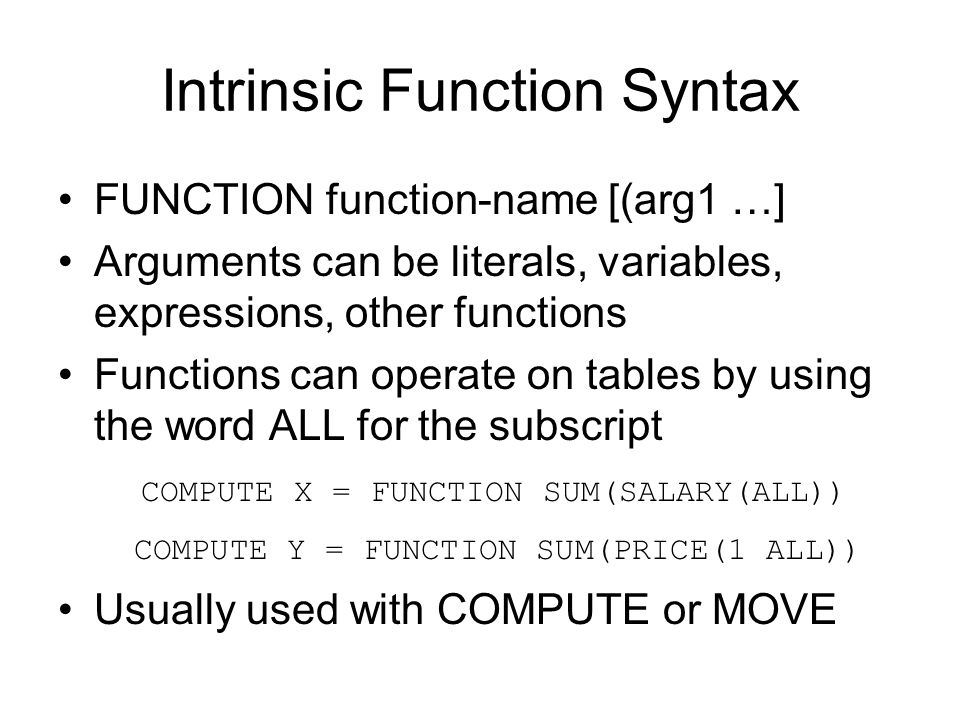 Intrinsic Function Syntax