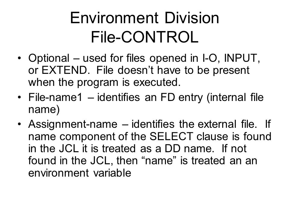 Environment Division File-CONTROL