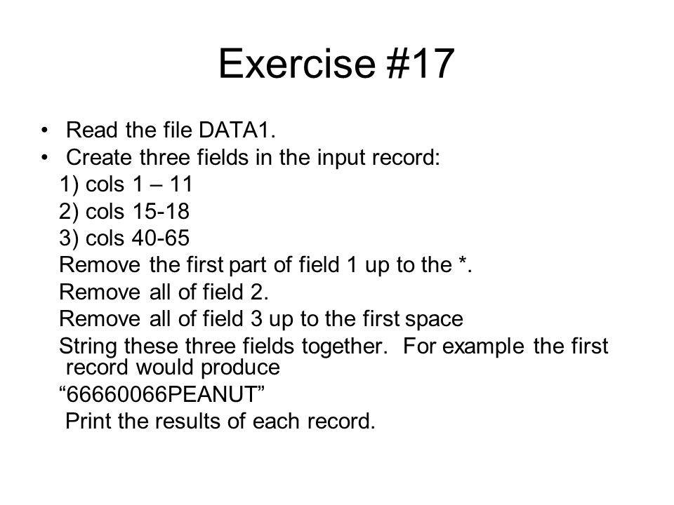 Exercise #17 Read the file DATA1.