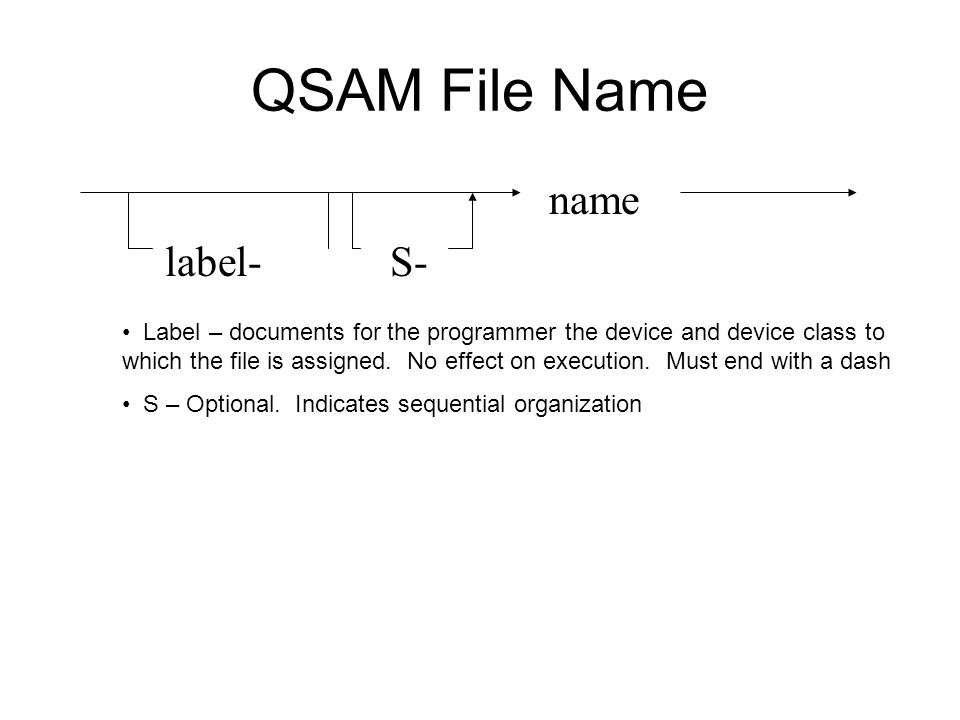 QSAM File Name name label- S-