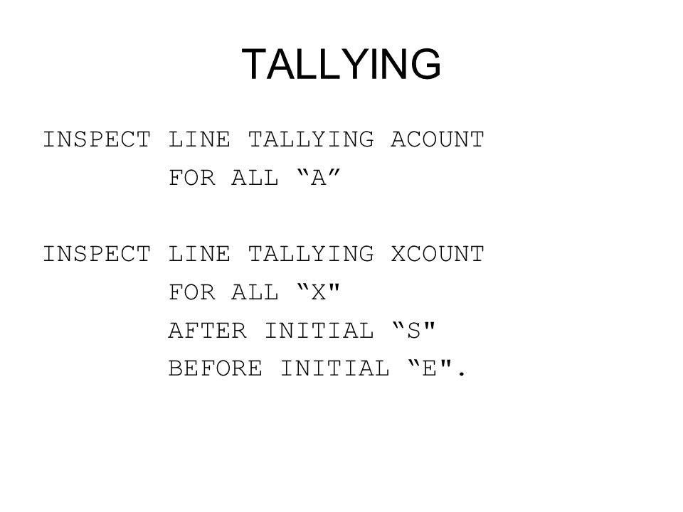 TALLYING INSPECT LINE TALLYING ACOUNT FOR ALL A