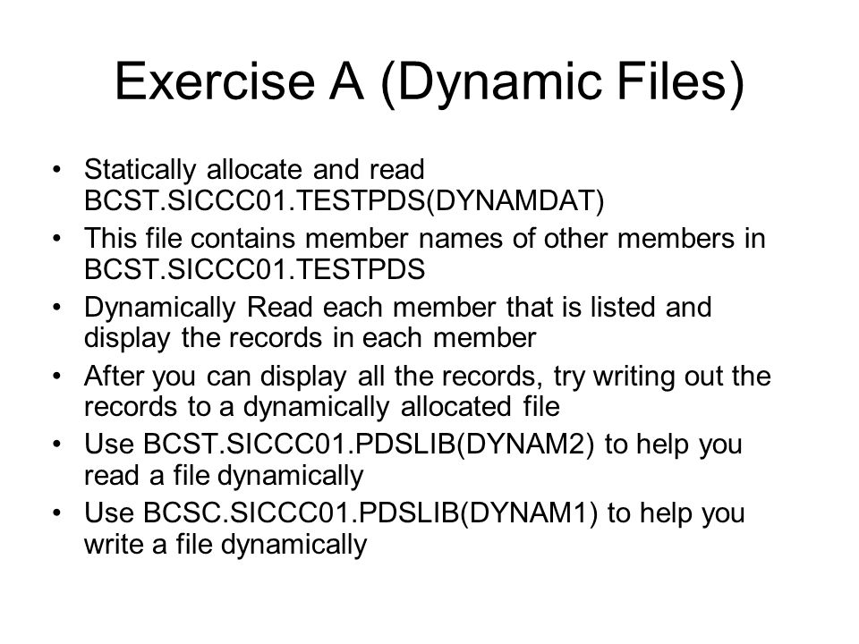 Exercise A (Dynamic Files)