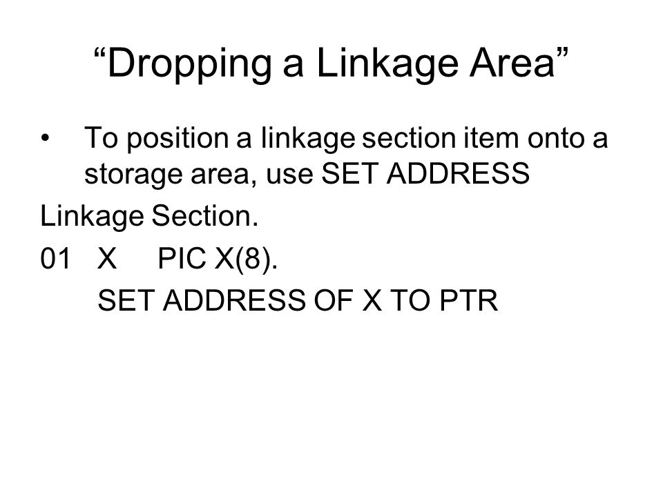 Dropping a Linkage Area