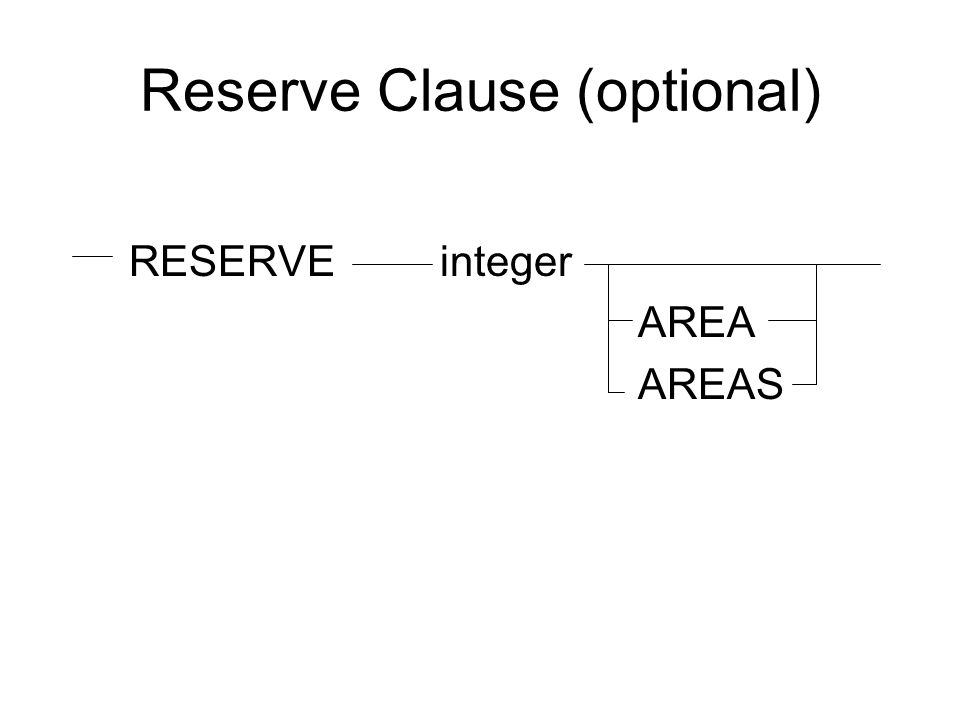 Reserve Clause (optional)