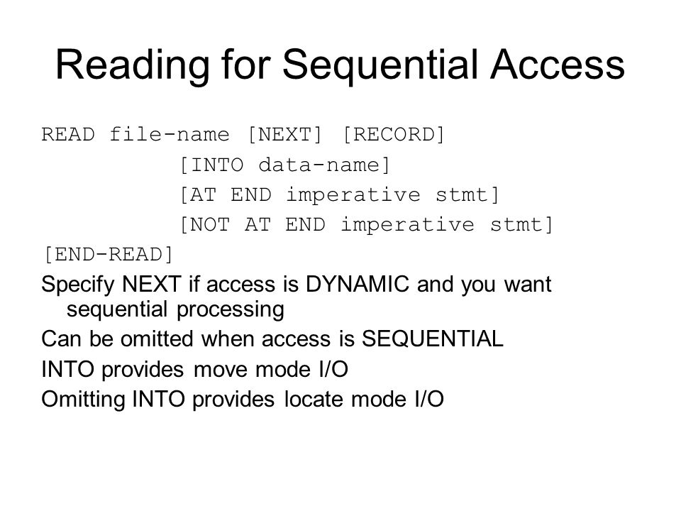 Reading for Sequential Access