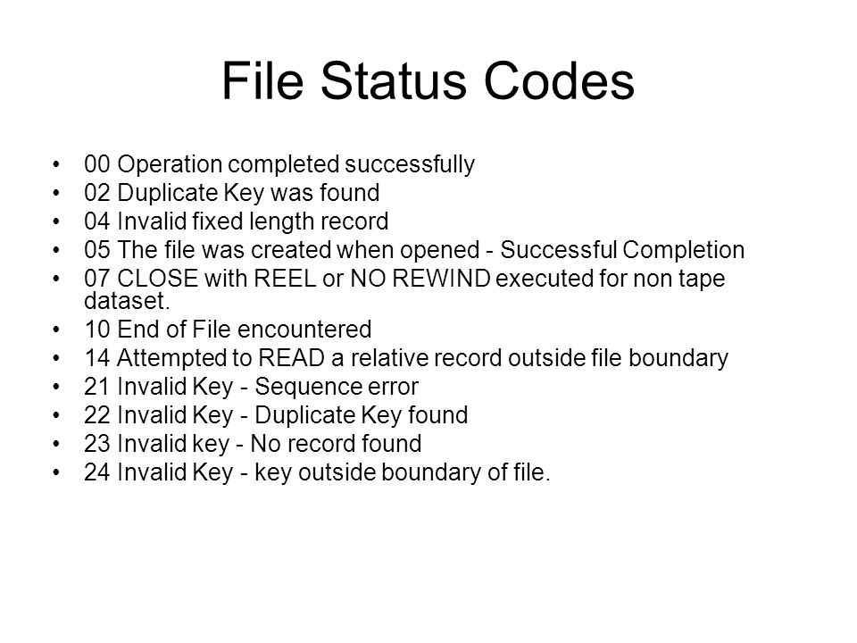 File Status Codes 00 Operation completed successfully