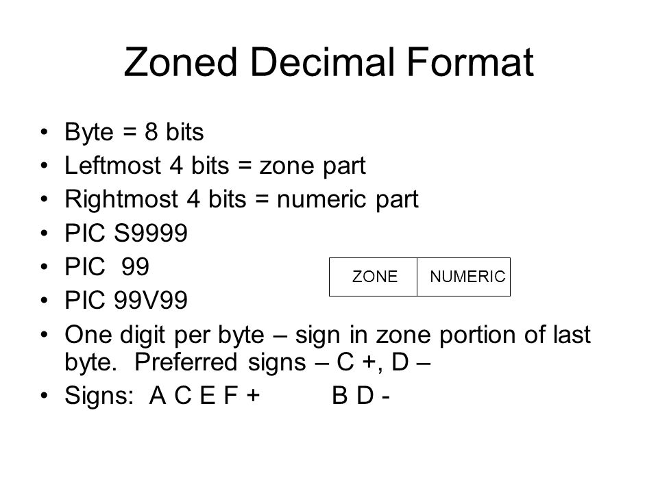 Zoned Decimal Format Byte = 8 bits Leftmost 4 bits = zone part