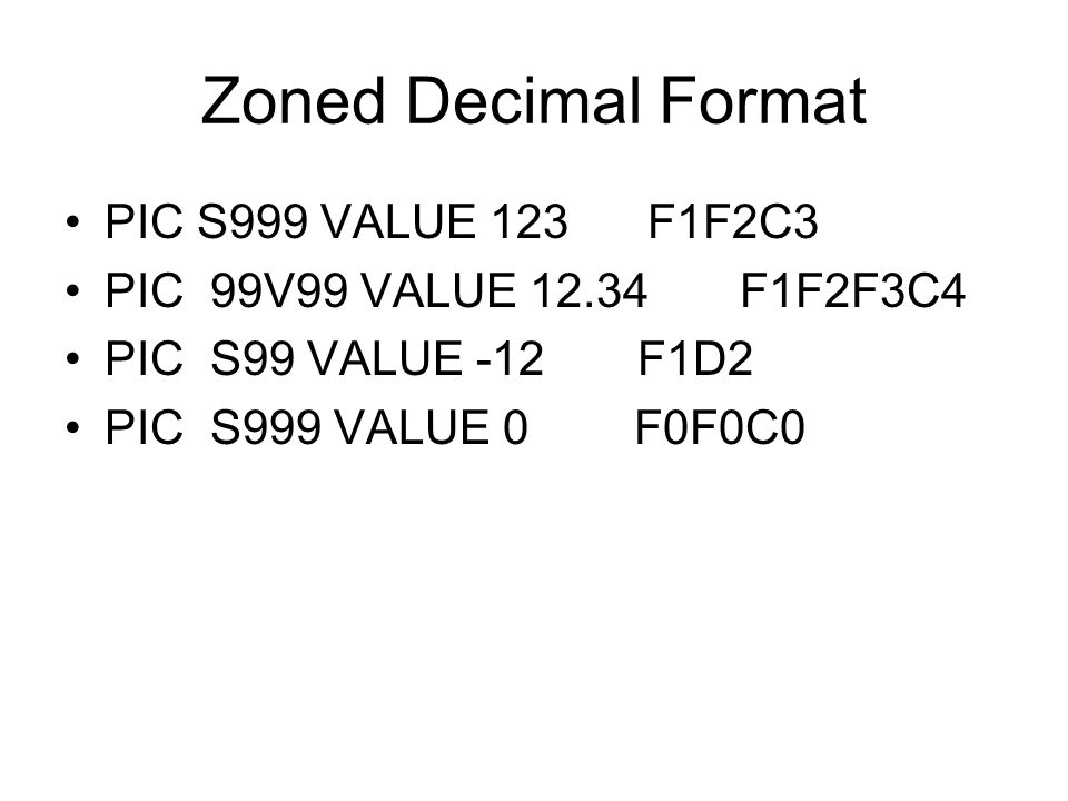 Zoned Decimal Format PIC S999 VALUE 123 F1F2C3