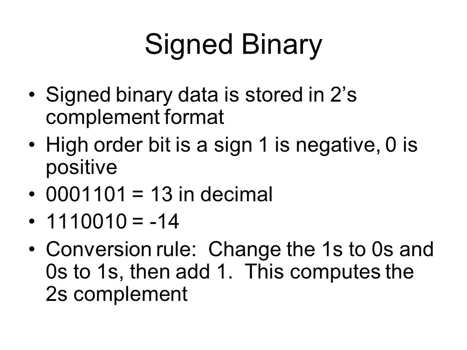 Signed Binary Signed binary data is stored in 2's complement format