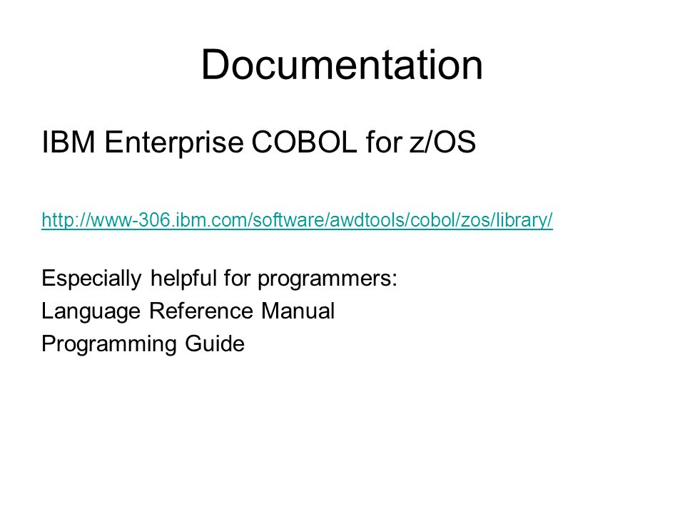 Documentation IBM Enterprise COBOL for z/OS