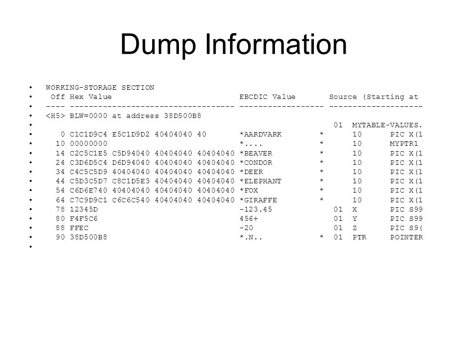 Dump Information WORKING-STORAGE SECTION